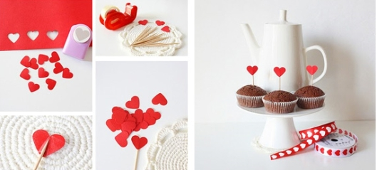 homemade-valentines-day-gifts-for-him-cupcakes-sticks-red-paper-hearts
